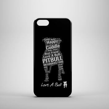 LOVE A BULL PITBULL BLACK Custom Case for iPhone 6 6 Plus iPhone 5 5s 5c GalaxyS 3 4 & 5 6 and Note 3 4 5