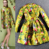 Stand Up Collar Floral Printed Long Sleeve A-Line Mini Dress