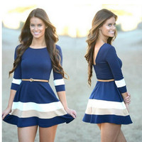 Half Sleeve Stripe Round Neck Dress