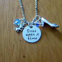 "Disney Inspired Princess Cinderella Necklace. ""Once Upon A Time"". Silver colored, Hand Stamped, Swarovski crystals. FREE shipping."