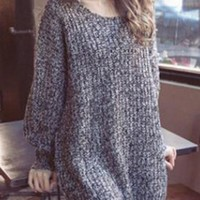 Grey Oversized Knitted Batwing Sleeve Pullover Sweater Jumper