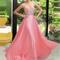 A-Line Sweetheart Chiffon Watermelon Long Prom Dress/Evening Gowns With Beading VTC069