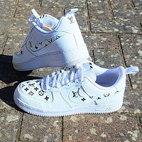 LV Louis Vuitton x NIKE Air force 1 AF1 hot sale men and women low top basketball shoes sneakers-2