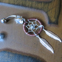 Brown Thread Dream Catcher Belly Button Ring- Silver Feather Dreamcatcher Opal Charm Dangle Navel Piercing Body Jewelry