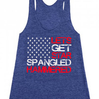 star spangled hammered tank. lets get star spangled hammered womens tank. triblend tank top.  womens memorial day tank. fourth of july shirt