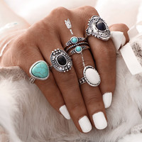 5 Pcs/Set  Antique Silver Color Bohemian Midi Ring Set Vintage Steampunk Anillos Knuckle Rings For Women Boho Jewelry 0527