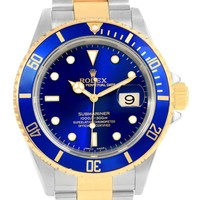 Rolex Submariner Blue Stainless Steel Yellow Gold Watch 16613 Box Papers