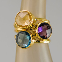 Stacking Ring - Stackable Rings - Birthstone Ring-  Bezel Rings - 18K Gold Vermeil Ring -