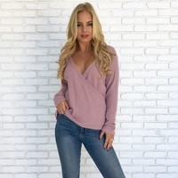 Soften Up Sweater Top in Rose Pink