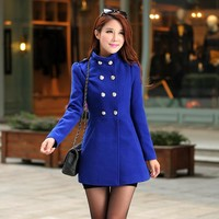 Echoine Women Winter Thick Warm Wool Coat Long Sleeve With Pockets Outwear Fashion Solid Color Women Trench Coats