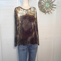 Boho Brown Blouse Velvet Look Top Bohemian Blouse Cowgirl Glam Hippie Clothes Boho Size Large Blouse
