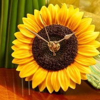 Sunflower Clock - Hand Painted Flower Clock By Ibis & Orchid Designs