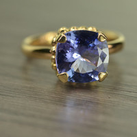 Darcy Ring, Tanzanite 3.3ct cushion prong solitaire, solid 14k gold statement ring (last one)