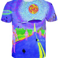 The Crows Knows - Trippy Mushroom World T-Shirt