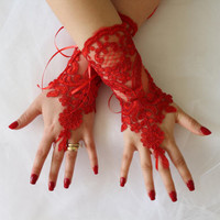Wedding Gloves,Red Lace Gloves,Bridal Glove,Fingerless,Bridal Lce Gloves, Mittens,Costume Glove