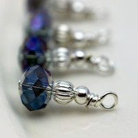 Mystic Purple AB Crystal Rondelle and Silver Bead Dangle Charm Drop Set