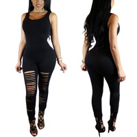 2016 Rompers Womens Jumpsuit Sexy Crew Neck Sleeveless Ripped Skinny Long Bodysuits Playsuits Casual Party Club Overalls