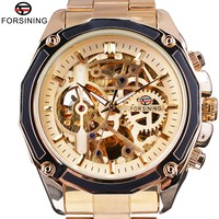 Forsining Golden Steampunk Open Work Inside Luxury Design Skeleton Mechanical Movement Mens Automatic Watches Top Brand Luxurry