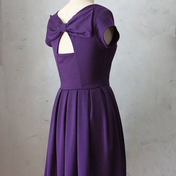 HOLLY GOLIGHTLY PLUM - Purple plum dress // pockets // pleated skirt // back cut out // bridesmaid // vintage inspired // party // holiday