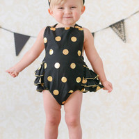 Black & Gold Polka Dot Baby Bubble Ruffle Romper Sun Suit & Headband