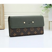 LV Louis Vuitton Newest Fashion Women Leather Wallet Purse Green