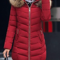 Red Patchwork Fur Pockets Zipper Hooded Long Sleeve Casual Coat