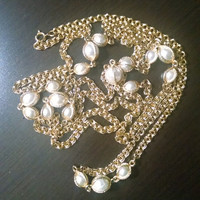 Necklace Gold Tone Caged Pearls Wedding Jewelry Jewellery Gatsby Flapper Gift for Her