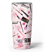The Pink Out of the MakeUp Bag Pattern - Skin Decal Vinyl Wrap Kit compatible with the Yeti Rambler Cooler Tumbler Cups