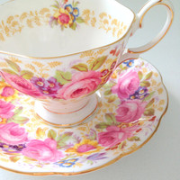 Vintage English Royal Albert Serena Pattern Tea Cup and Saucer Avon Shape - Ca. 1945 - 1977