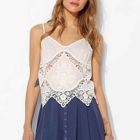 Pins And Needles Crochet-Inset Embroidered Cami- White L- White L