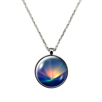 Aurora Borealis  - Necklace, Jewelry stainless steel crystal glass pendant. Christmas gift sparking colorful sky
