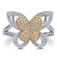 Sterling Silver 925 2-Tone Butterfly Cubic Zirconia CZ Fashion Ring #r503