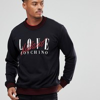 Love Moschino Sweatshirt In Black With Milano Logo at asos.com