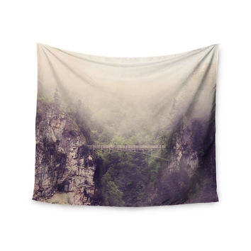 """Sylvia Coomes """"Foggy Mountain Landscape"""" Brown Green Wall Tapestry"""