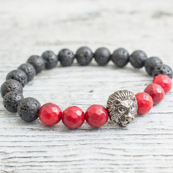 Black lava stone and faceted red coral beaded gunmetal black Lion head stretchy bracelet, mens bracelet, womens bracelet