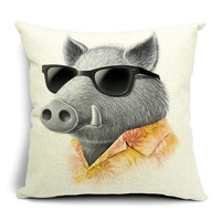 Decorative Throw Cute Animal And Linen Hold Emoji Pillow