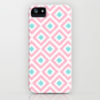 Pink and Mint Diamonds Ikat Pattern iPhone & iPod Case by heartlocked