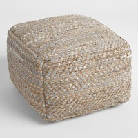 Jute And Leather Metallic Woven Pouf