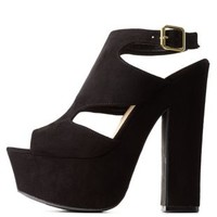 Black Bamboo Slingback Cut-Out Platform Heels