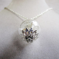 Dandelion Seed Glass Orb Terrarium Necklace, Small Orb In Silver or Bronze, Bridesmaids Gifts