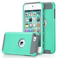 iPod Touch 5 Case,iPod 5 Case,5th case,ULAK [Colorful Series] Slim Fit Protective iPod Touch Case 2-Piece Style Hybrid Hard Case Cover for Apple iPod touch 5 6th Generation (Aqua Mint/Grey)