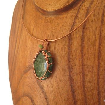 Large Russian Serpentine Pendant Woven in Copper, gift for her