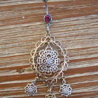 Belly Button Ring - Body Jewelry - Gold And Silver Dangly Flower Charms with Pink Gem Belly Button Ring