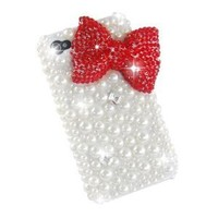 New Classic Bling Red Bownot Full Pearls Diamond Crystal Hard Case Cover for Iphone 4 / 4s / 4g