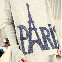 Tower Long Loose Round Neck Sweater One Size = 1828189124