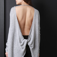 Loose Knit Twisted Open Back Long Sleeves Sweater