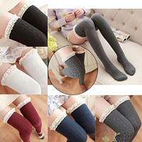 Winter 2016 Women Twist Stockings Cotton Lace Over Knee Socks Winter Warm Tube Hose Stocking  JL