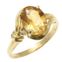 GENUINE 1.40CT OVAL CITRINE & DIAMOND SOLITAIRE RING SOLID 14K YELLOW GOLD