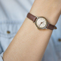 Casual women's watch Dawn simple women's watch silver brown shades round watch X'mas gift premium leather strap new