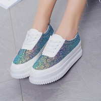 White Round Toe Sequin Lace-up Casual Heavy-Soled Shoes